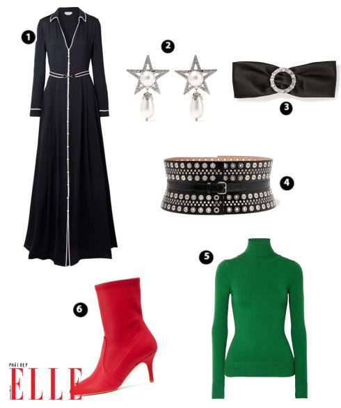 Shirt Dress GABRIELA HEARST – Bông tai MIUMIU – Headband MIUMIU – Đai lưng ALAÏA – Áo cổ lọ JOOSTRICOT – Giày STUART WEITZMAN