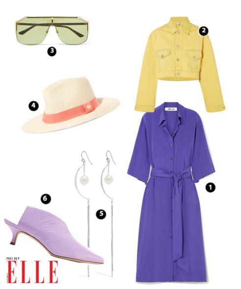 Shirt Dress DIANE VON FURSTENBERG – Áo khoác denim GANNI – Mắt kính GUCCI – Nón MELISSA ODABASH – Bông tai CHAN LUU – Giày TIBI