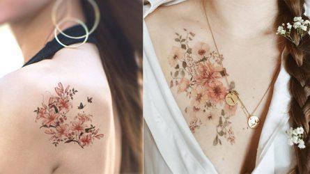 15 mẫu hình xăm hoa nhỏ xinh, màu sắc thanh nhã