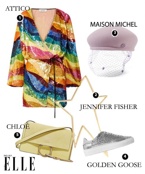 Look1: Attico – Jennifer Fisher – Maison Michel – Golden Goose – Chloé