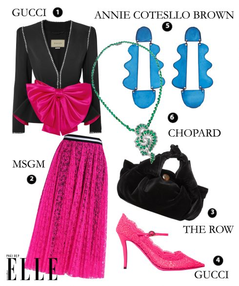 Look 1: Áo vest GUCCI – Chân váy MSGM – Túi xách THE ROW – Giày cao gót GUCCI – Hoa tai ANNIE COSTELLO BROWN – Dây chuyền CHOPARD