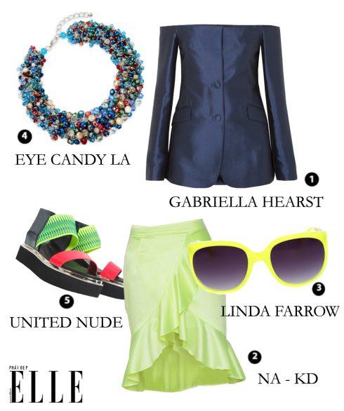 Look 2: Áo vai trần GABRIELLA HEARST – Chân váy NA – KD – Mắt kính LINDA FARROW – Dây chuyền EYE CANDY LA – Sandal UNITED NUDE