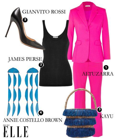 Look 4: Vest ALTUZARRA – Áo JAMES PERSE – Túi xách KAYU – Hoa tai ANNIE COSTELLO BROWN – Giày cao gót GIANVITO ROSSI