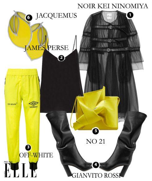 Look 5: Shirtdress lưới NOIR KEI NINOMIYA – Áo hai dây JAMES PERSE – Quần OFF-WHITE – Giày bốt GIANVITO ROSSI – Túi xách NO. 21 – Hoa tai JACQUEMUS