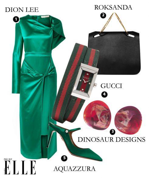 Váy satin Dion Lee, Túi Roksanda, Hoa tai Dinosaur Designs, Đồng hồ Gucci, Giày Aquazzura