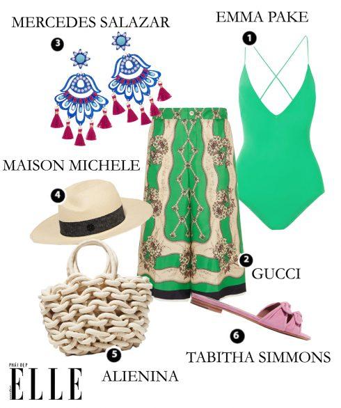 Áo tắm Emma Pake, Quần Gucci, Hoa tai Mercedes Salazar, Nón Maison Michele, Túi Alienina, Dép Tabitha Simmons.