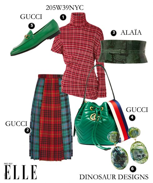 Áo 205W39NYC, Váy Gucci, Belt Alaia, Túi Gucci, Giày Gucci, Hoa tai Dinosaur Designs