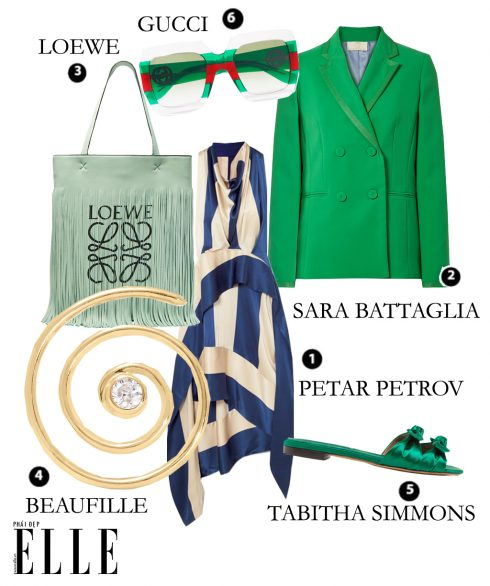 Váy Petar Petrov, Áo vest Sara Battaglia, Túi Loewe, Hoa tai Beaufille, Giày Tabitha Simmons, Kính Gucci