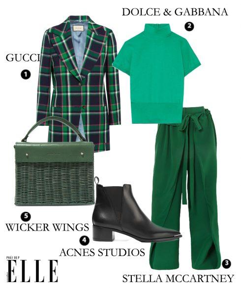 Áo khoác Gucci, Áo len Dolce & Gabbana, Quần Stella McCartney, Giày Acnes Studios, Túi xách Wicker Wings.