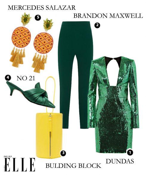 Váy Dundas, Quần Brandon Maxwell, Túi xách Building Block, Giày No 21, Hoa tai Mercedes Salazar