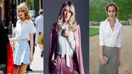 Sao quốc tế bị cuốn hút bởi áo sơ mi trắng cổ điển