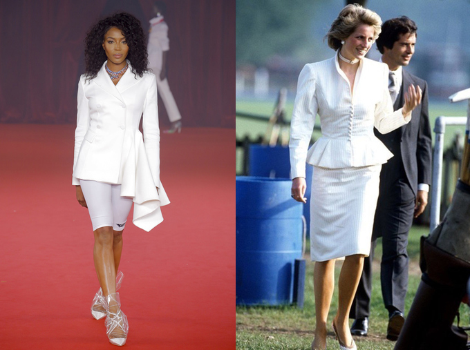 Dress bearing the imprint of Princess Diana in the Off-White collection