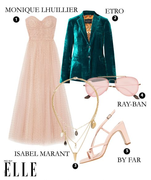 Đầm lưới chấm bi Monique Lhuiller – Áo suit Etro – Dây chuyền Isabel Marant – Mắt kính Ray-ban – Giày By Far
