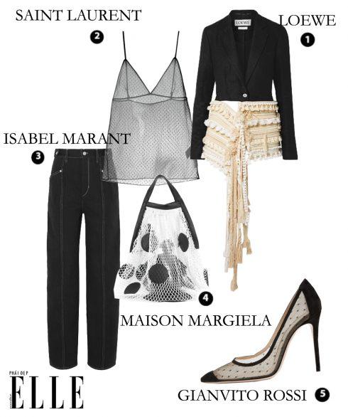 Áo khoác Loewe – Áo hai dây lưới chấm bi Saint Laurent – Quần Isabel Marant – Túi xách Maison Margiela – Giày lưới chấm bi Gianvito Rossi