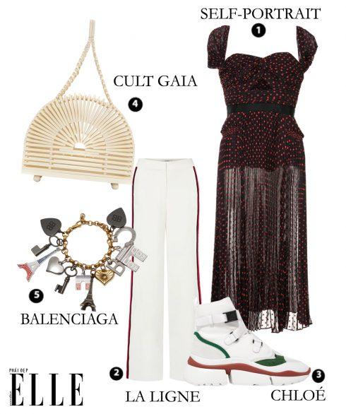 Đầm lưới chấm bi Self-Portrait – Quần La Ligne – Giày sneakers Chloé – Túi xách Cult Gaia – Vòng tay Balenciaga