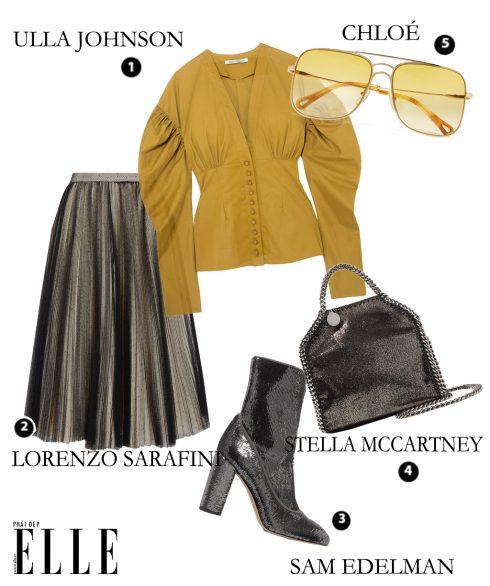Áo Ulla Johnson – Chân váy lưới chấm bi Lorenzo Sarafini – Giày bốt Sam Edelman – Túi xách Stella McCartney – Mắt kính Chloé