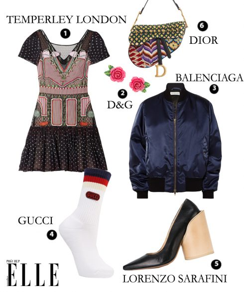 Đầm Temperley London – Hoa tai D&G – Bomber Jacket Balenciaga – Vớ Gucci – Giày Jacquemus – Túi Saddle Bag Dior