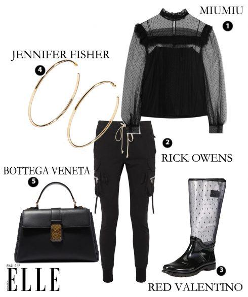 Áo MiuMiu – Quần Rick Owens – Giày Red Valentino – Hoa tai Jennifer Fisher – Túi xách Bottega Veneta