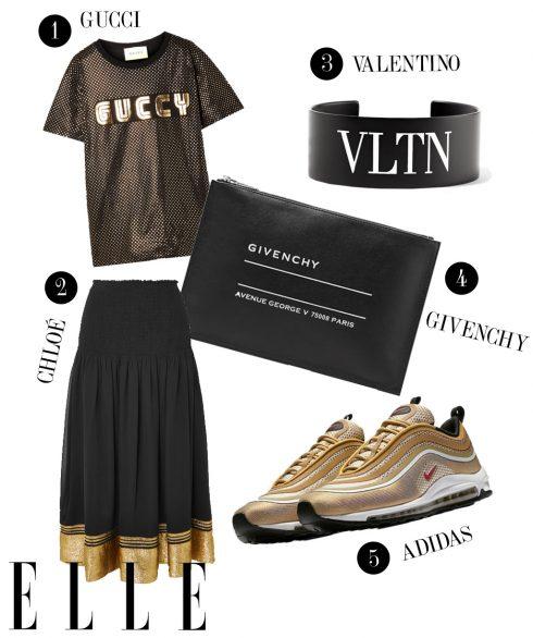 1. Áo Gucci, 2. Chân váy Chloé, 3. Vòng tay Valentino, 4. Túi cầm tay Givenchy, 5. Giày sneakers Adidas.