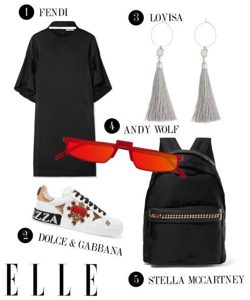 1. Đầm ngắn Fendi, 2. Giày sneakers Dolce & Gabbana, 3. Hoa tai Lovisa, 4. Kính mát Andy Wolf, 5. Balô Stella McCartney.