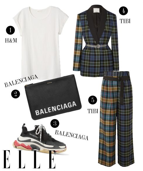1. Áo thun H&M, 2. Túi cầm tay Balenciaga, 3. Giày sneakers Balenciaga, 4. Áo blazer Tibi, 5. Quần Tibi.