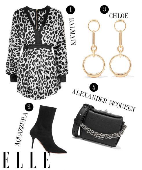 1. Đầm ngắn Balmain, 2. Giày cao gót Aquazzura, 3. Hoa tai Chloé, 4. Túi đeo Alexander McQueen.