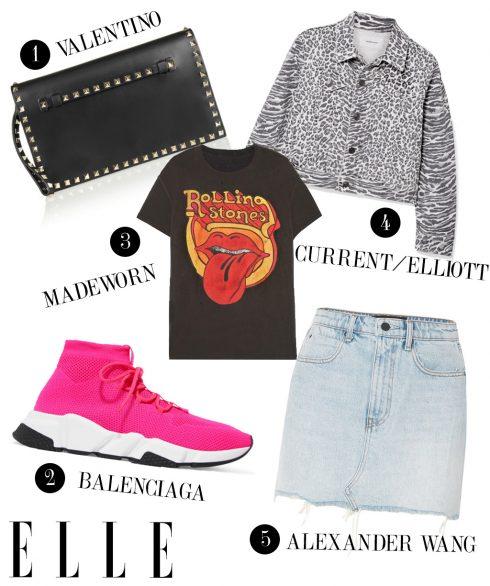 1. Ví cầm tay Valentino, 2. Giày sneakers Balenciaga, 3. Áo thun Madeworn, 4. Áo khoác Current/Elliott, 5. Chân váy jeans Alexander Wang.