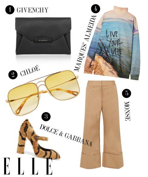 1. Ví cầm tay Givenchy, 2. Kính mát Chloé, 3. Giày cao gót Dolce & Gabbana, 4. Áo tay dài Marques' Almeida, 5. Quần dài Monse.
