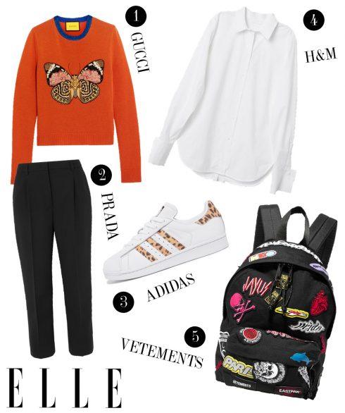 1. Áo tay dài Gucci, 2. Quần lửng Prada, 3. Giày sneakers adidas, 4. Áo sơmi H&M, 5. Balo Vetements.