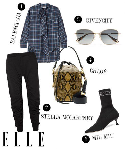 1. Áo sơmi Balenciaga, 2. Quần joggers Stella McCartney, 3. Kính mát Givenchy, 4. Túi xách Chloé, 5. Giày cao gót Miu Miu.