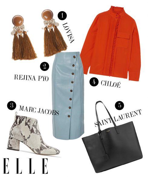 1. Hoa tai Lovisa, 2. Chân váy Rejina Pyo, 3. Boots Marc Jacobs, 4. Áo Chloé, 5. Túi xách Saint Laurent.
