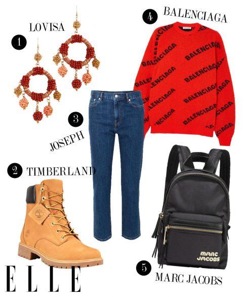 1. Hoa tai Lovisa, 2. Boots Timberland, 3. Quần jeans Joseph, 4. Áo Balenciaga, 5. Balo Marc Jacobs.