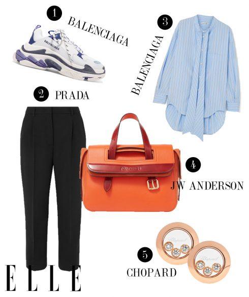 1. Giày sneakers Balenciaga, 2. Quần Prada, 3. Áo sơmi Balenciaga, 4. Túi xách JW Anderson, 5. Hoa tai Chopard.