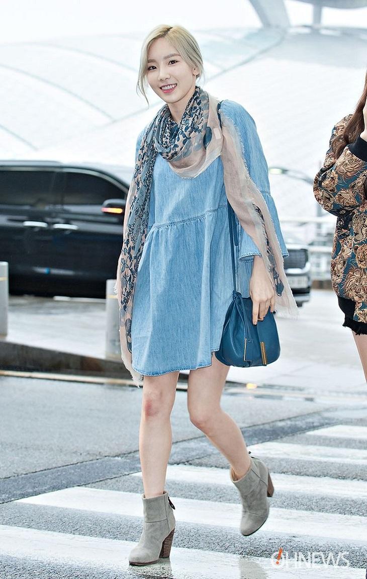 elle việt nam cách chọn giày đến sân bay taeyeon.