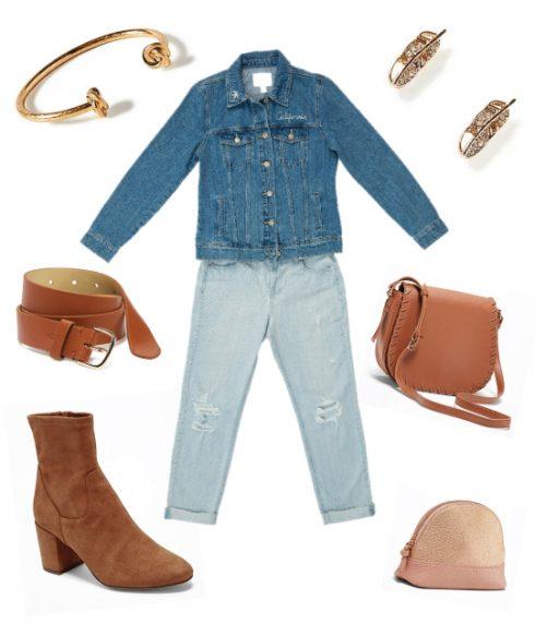 Quần jeans rách dáng dài phối theo phong cách denim-on-denim. Kết hợp cùng với các phụ kiện tông nâu ấm là bạn đã có 1 bộ trang phục tuyệt vời cho mùa Thu.