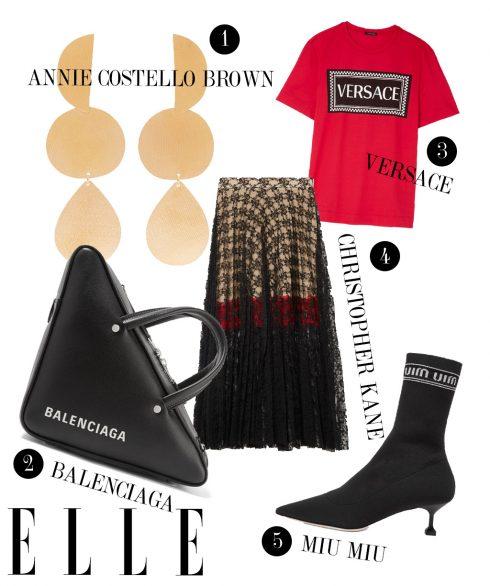 1. Hoa tai Annie Costello Brown, 2. Túi xách Balenciaga, 3. Áo thun Versace, 4. Chân váy Christopher Kane, 5. Boots Miu Miu.
