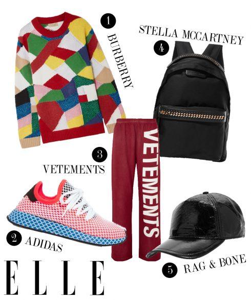 1. Áo tay dài Burberry, 2. Giày sneakers adidas, 3. Quần thun dài Vetements, 4. Balo Stella McCartney, 5. Mũ lưỡi trai Rag & Bone.