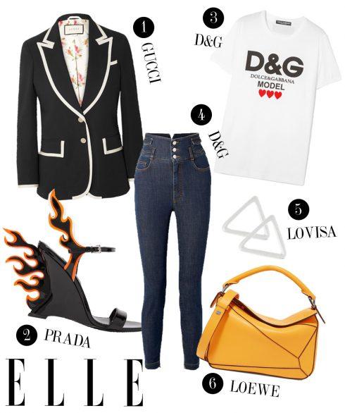 1. Áo khoác blazer Gucci, 2. Giày cao gót Prada, 3. Áo thun Dolce & Gabbana, 4. Quần jeans cạp cao Dolce & Gabbana, 5. Hoa tai Lovisa, 6. Túi xách Loewe.
