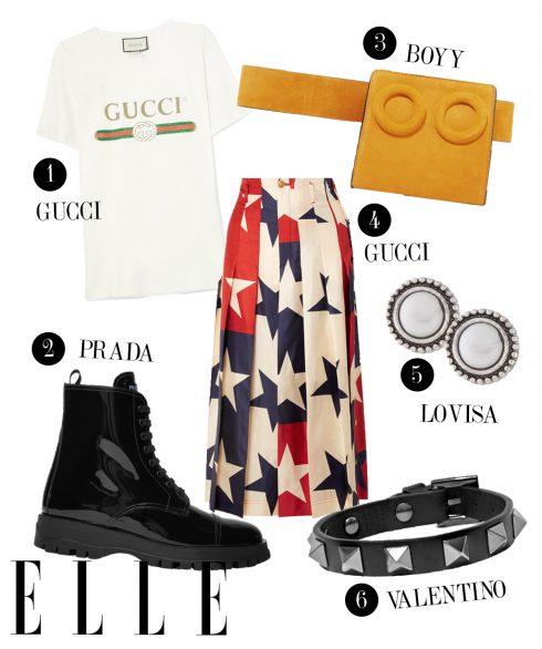 1. Áo thun Gucci, 2. Boots Prada, 3. Túi đeo hông Boyy, 4.  Chân váy Gucci, 5. Hoa tai Lovisa, 6. Vòng tay Valentino.