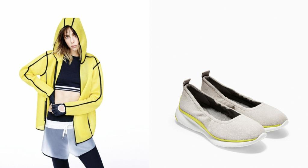 Các fashionista đam mê mang hơi hướng futuristic chắc chắn không thể bỏ qua bộ phối áo khoác thể thao và đôi giày 3.Zerogrand phong cách thời trang cực hiện đại này.
