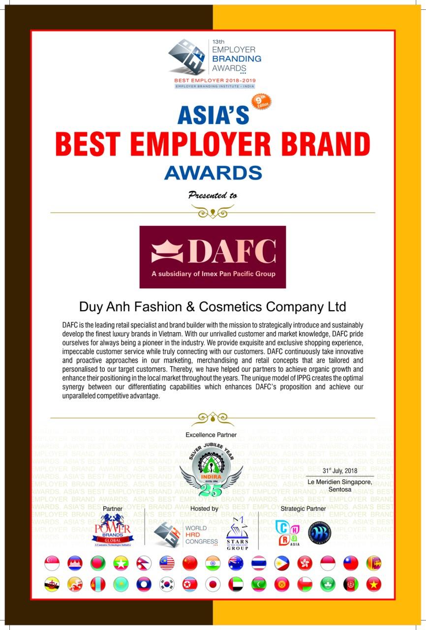 Nhà phân phối hàng hiệu DAFC được vinh danh tại giải thưởng châu Á 05