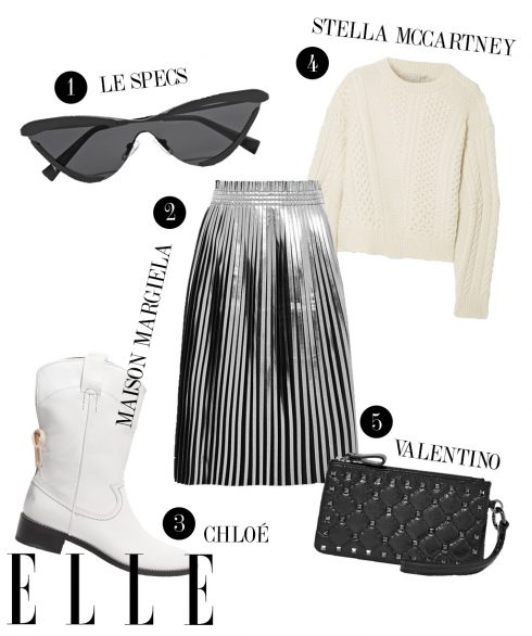 1. Kính mát Le Specs, 2. Chân váy Maison Margiela, 3. Boots cao bồi Chloé, 4. Áo len Stella McCartney, 5. Ví cầm tay Valentino.