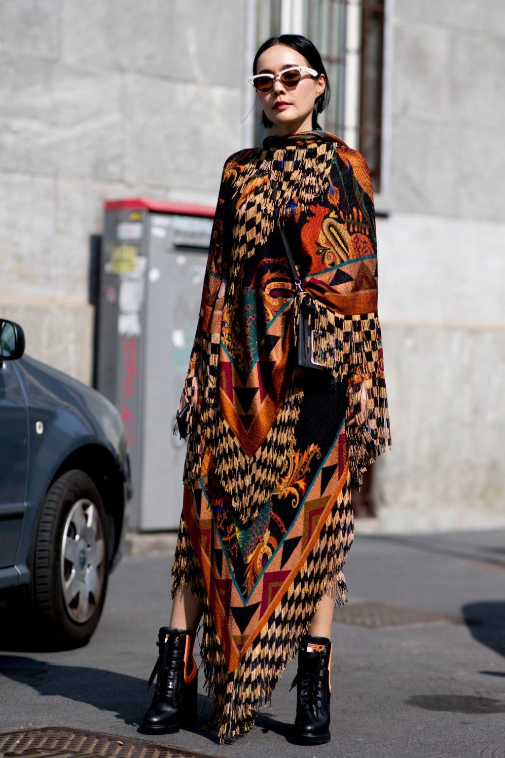 street style tuần lễ thời trang Milan họa tiết 8