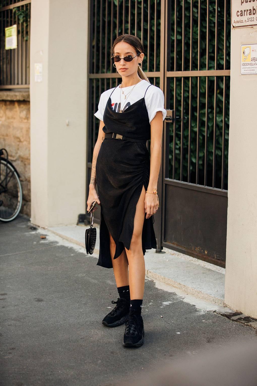 street style tuần lễ thời trang Milan họa tiết 13