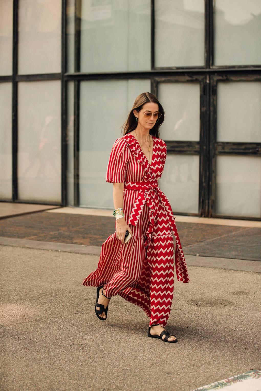 street style tuần lễ thời trang Milan họa tiết 2