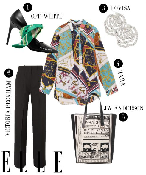 1. Giày cao gót Off-White, 2. Quần dài Victoria Beckham, 3. Hoa tai Lovisa, 4. Áo Zara, 5. Túi tote bag JW Anderson.
