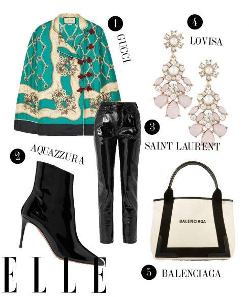 1. Áo Gucci, 2. Boots cao gót Aquazzura, 3. Quần vinyl Saint Laurent, 4. Hoa tai Lovisa, 5. Túi Balenciaga.