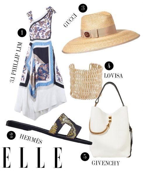 1. Đầm 3.1 Phillip Lim, 2. Dép Hermès, 3. Mũ cói Gucci, 4. Vòng tay Lovisa, 5. Túi xách Givenchy.