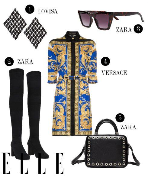 1. Hoa tai Lovisa, 2. Boots cao cổ Zara, 3. Kính mát Zara, 4. Đầm ngắn Versace, 5. Túi đeo vai Zara.