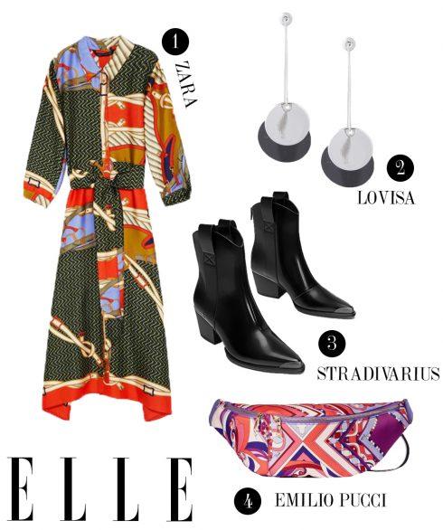 1. Đầm dài Zara, 2. Hoa tai Lovisa, 3. Boots cao bồi Stradivarius, 4. Túi đeo hông Emilio Pucci.